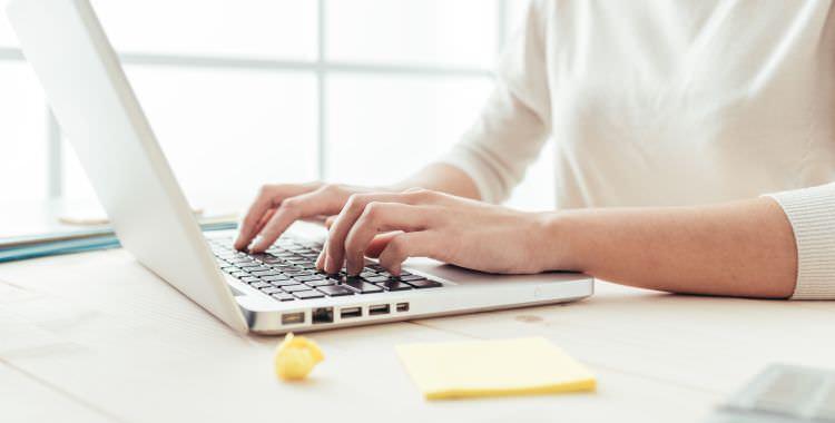 a medicala scriber working on computer