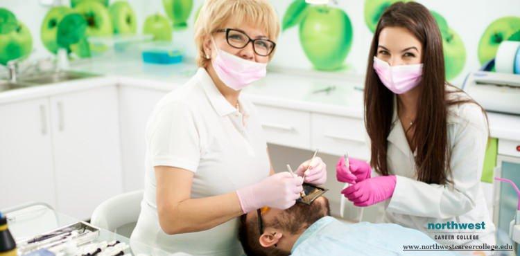 Dental assistant assisting a doctor