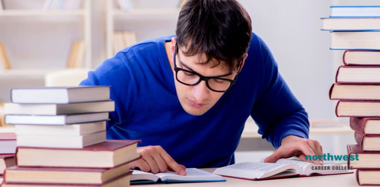 A student reading for Pearson Vue Test