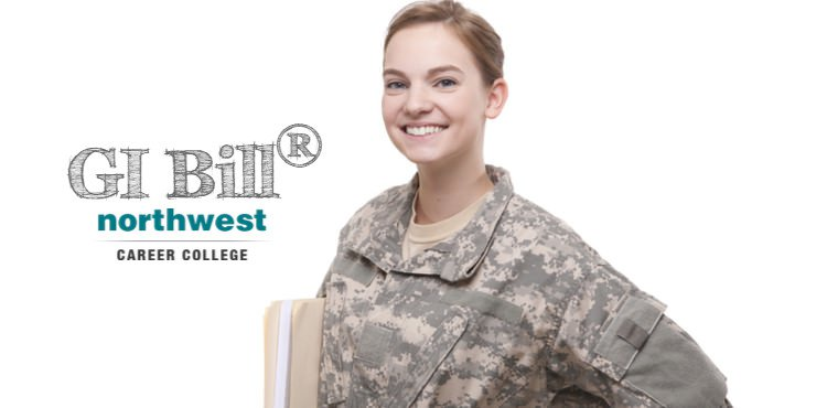 A woman veteran with GI BILL logo in background.