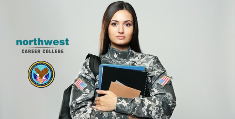 A female veteran with books in her arms standing proud.