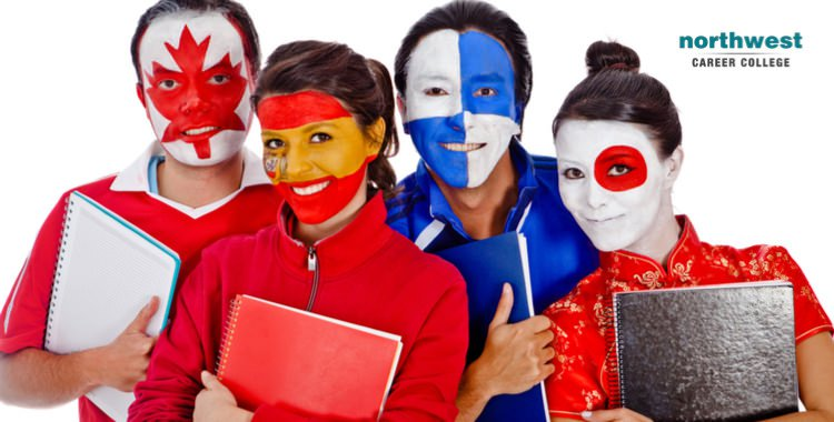 Group of students with different flag face paintings.