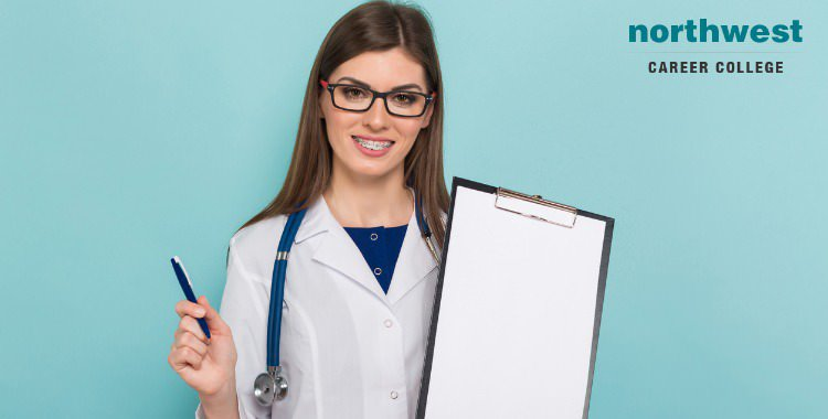A smart-looking female doctor with a clipboard and pen