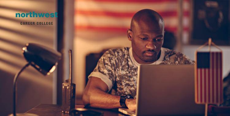 A Veteran Seeking Jobs In Website using his computer.