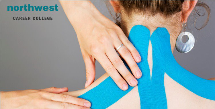 Kinesiology Tape on a woman's' neck in a Massage Practice