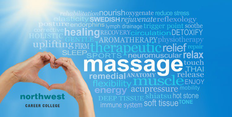 A list of Mental Health Benefits Of Massage shown in a word-cloud.