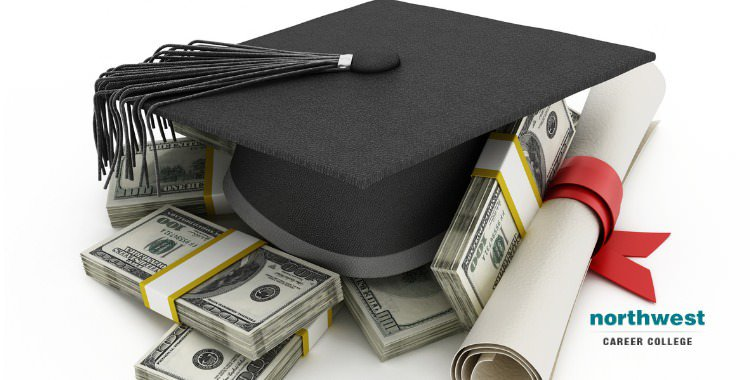 Graduation cap on top of piles of money next to education certificate.