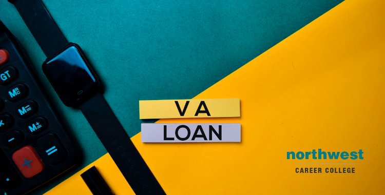VA loan text on top view color