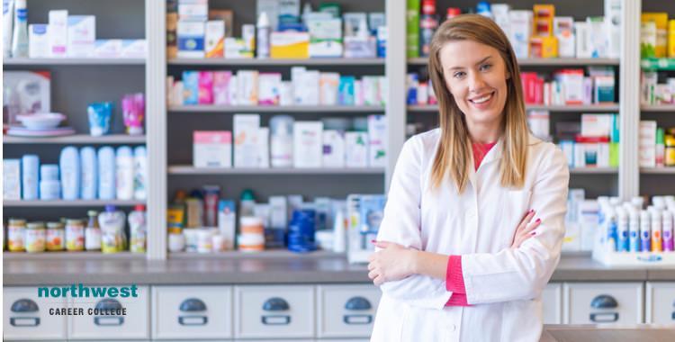 Pharmacy technician working in drugstore