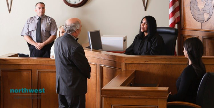 Court Clerk in a courtroom