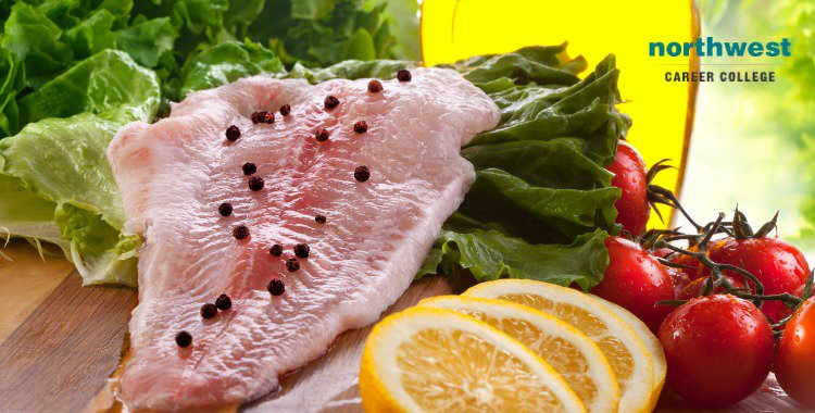 fillet of salmon fish and salad