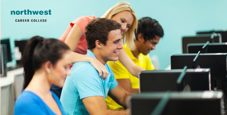 students in online study